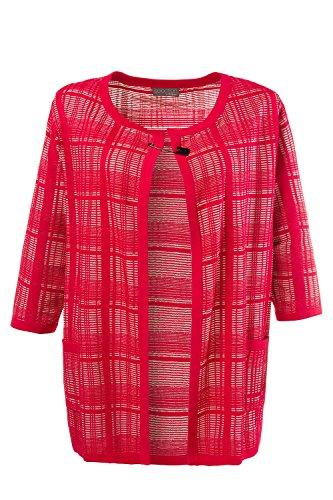 Ulla Popken Femme Grandes tailles | Cardigan maille fine carreaux chic épingle fantaisie manches 3/4 | 711973 Rouge