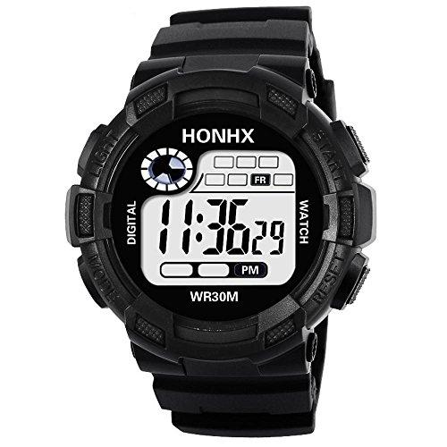 OHQ Herren Digital Sport Uhren - Outdoor wasserdichte Armbanduhr mit Wecker Chronograph und Countdown Uhr, LED Licht Gummi Schwarz große Anzeige Digitaluhren für Herren (Black) (Licht Aufbewahrungsbox)