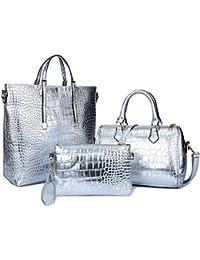 FavoMode Damen Krokodil Muster PU Leder Handtasche Crossbody Tasche Handgelenktasche 3 Stück Set
