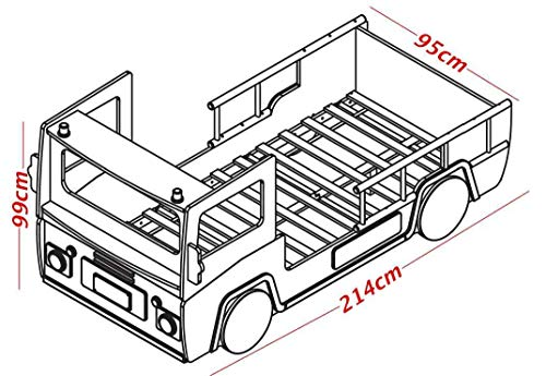 demeyere 3224 Feuerwehrbett SOS 112, MDF, 90 x 190-200 cm, rot/weiß - 3