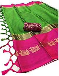 Latest Women Cotton Silk Saree With Extra Marching Broket Blouse (Green)