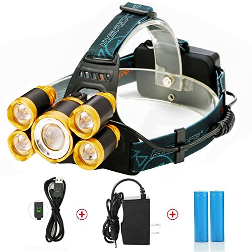 LED Stirnlampe,SGODDE LED Kopflampe mit 5 LED 8000LM mit Eingebauter Akku 4 Modi T6 LED Wasserdichte Perfekt für Camping, Mountainbiking, Fischerei, Keller,zum Campen, zum Wandern und zum Spazierengehen