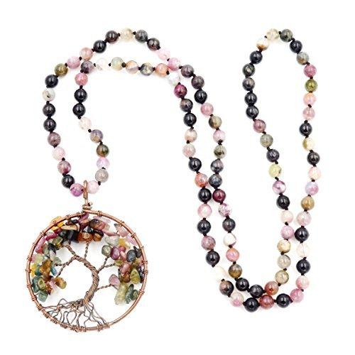 Edelstein Mala Perlen Kette, 108 buddhistische gebetsperlen Halskette, handgeknotet Halskette (turmalin)