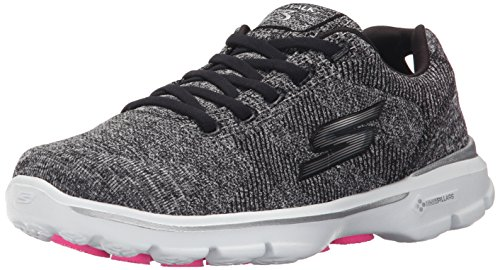 Skechers Go Walk 3Stretch, Baskets Basses Femme Noir - Noir/blanc