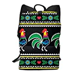 Homebe Rooster Animal Christmas Black Art Zaino Holder,Borse Scuola,Zaino per la Scuola School Travel Hiking Small Mini Gym Teen Little Girls Youth Kid Women Men Printed Patterned Themed Bookbags