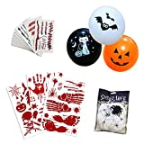 V-RULE Halloween Dekoration Set- Zombie Scars Temporäre Tattoos (11 Blatt) - Halloween Blut Drucke Fenstersticker - Halloween Spinnweben - Halloween Ballone Party