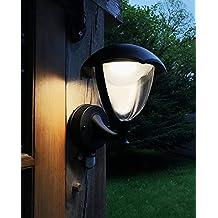 LightHub 6W LED IP44 Farolas Aplique ascendente con sensor de movimiento, iluminación exterior, Farol de pared para exteriores, aluminio, luz blanca cálida, color negro