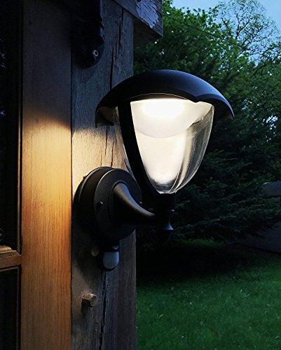 LightHUB 6W LED IP44Straßenlaternen Wandleuchte mit Bewegungsmelder, Outdoor, Laterne Beleuchtung von Wand für Außen, Aluminium, Warmweiß, Schwarz - Aluminium Outdoor Laterne