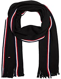 Tommy Hilfiger Corporate Edge Stripe Raschel Scarf, Sciarpa Uomo, Nero (Black 002), Taglia Unica