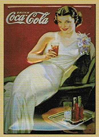 PLAQUE METAL 30X20cm PUB RETRO DRINK COCA-COLA PIN UP BRUNE