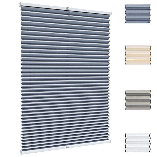 Gardinen21 Klemmfix Plissee nach Maß ohne Bohren   Jalousien Rollo mit Klemmträger   Sonnenschutz und Sichtschutz   Maßgefertige Fenster & Türen Rollos in Grau