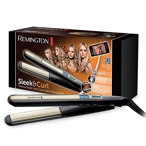 Remington Sleek & Curl S6500 - Plancha de Pelo, Cerámica Avanzada, Digital, Placas Estrechas Extra Largas, Negro y Dorado