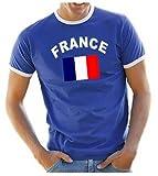 Coole-Fun-T-Shirts Herren T-Shirt Ringer, Blau, XL, 10888_Frankreich_HERI