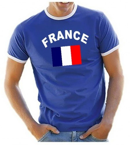 Coole-Fun-T-Shirts Herren T-Shirt Ringer, Blau, L, 10888_Frankreich_HERI