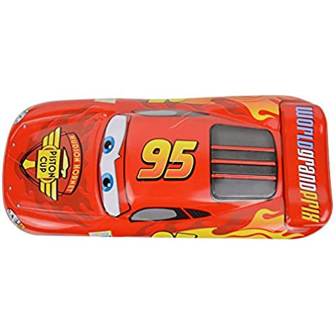 Disney Mini coche rojo Durable doble Escritorio Escuela Hierro caja de lápiz de cajas de lápices