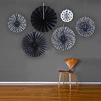 6pcs plisado para ventiladores de papel impreso olas pinweels para fiesta decoración cumpleaños ducha hogar Festival