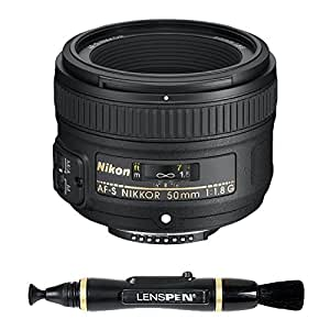 Nikon AF-S Nikkor 50mm f/1.8G Prime Lens for Nikon Digital SLR Camera + Lenspen NLP-1 Cleaning Brush (Black)