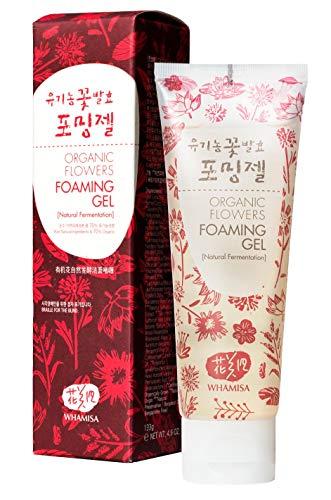 WHAMISA Organic Flowers Foaming Gel - Waschgel Gesichtsreinigung mit 7 Botanischen Extrakten und Hyaluronsäure - Reinigung Gesicht Reinigungsgel - Korean Skin Care - 120ml
