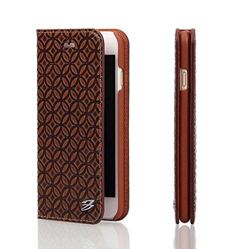 iPhone 6S Plus/6 Plus Echtem Leder Hülle,Careynoce Luxus Handgefertigt Echtem Leder Brieftasche Magnetischen Flip Schutzhülle für Apple iPhone 6S Plus iPhone 6 Plus(5.5 Zoll) -- Klassisches geprägtes  M02