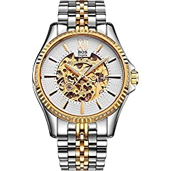 Angela Bos Men's Fashion Automatic Self-wind Mechanical Skeleton Gold Case White Dial Wrist Watch Stainless Steel Band