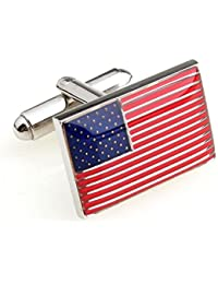 American Flag Cufflinks Flag Of USA Cuff-links With Velvet Gift Box
