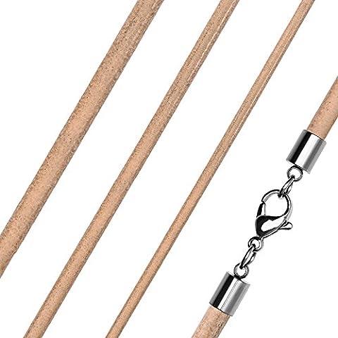 Lederkette Halskette Lederband Kette Echtleder Rindsleder Karabiner Edelstahl Kette für Anhänger natur 3 mm 40 mm