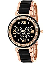 9721ae8d9f40c Sky Mart New Arrival Special collection Black Roman Analogue Dial And Black- Gold Metal Belt Wrist Watch Specially For Teenager Girls…