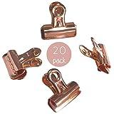 Tiffley Time - Paquete de 20 pasadores de oro rosa con clips para tableros de corcho, tableros de anuncios y paredes de cubículos, gran alternativa a los grifos de pulgar y pasadores estándar