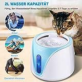 PEDOMUS 2L Katzenbrunnen Trinkbrunnen für Katze mit Filter Automatisch Katzen Trinkbrunnen Wasserbrunnen Haustier Hunde Wasserspender Katzentrinkbrunnen Leise UV-Entkeimungslampe YW-002 - 2