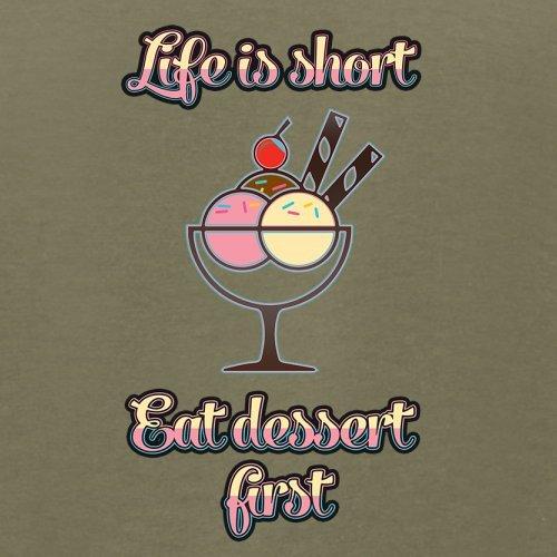 Das Leben ist kurz, iss die Nachspeise zuerst - Herren T-Shirt - 13 Farben Khaki