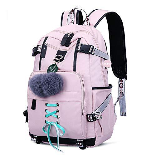 Universität Bow Kissen (Mädchen Rucksack Schultaschen Für Mädchen Nylon wasserdichte College Rucksack Mode Lässig Daypack Frauen Bookbag Jungen Schultasche Jugendliche Durable Unisex Student Rucksäcke,Pink)