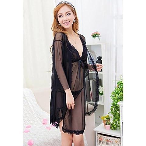 SMSM Pyjamas Sexy à Trois Pièces Femmes Extrême Temptation Fun Harness Night Skirt Summer Lace Transparent Underwear Sets,M