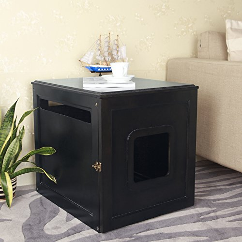 *Petsfit Hölzernes Haustier Haus, Katzenklo, Umweltfreundliche Farbe, Dunkler Kaffee, 60cm x 50cm x 55cm*