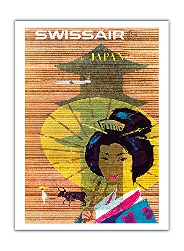 Pacifica Island Art - Japan, Tokyo - Geisha Girl - Swissair Fluglinie Luftfahrtgesellschaft der Schweiz - Retro Flugreise Plakat von Donald Brun c.1958 - Giclée Kunstdruck 30.5 x 41 cm -