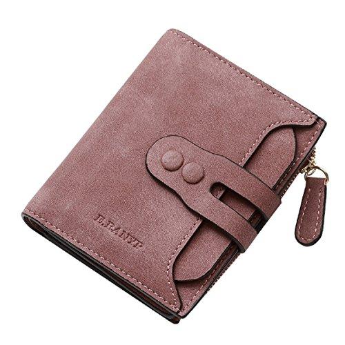 Damen Brieftasche, Tezoo Geldbeutel aus Leder Multifunktion mit Reißverschluss Knopf Große Kapazität Portemonnaie Geldbörse Mappe Geldtasche Wallet Rosagrau (Reißverschluss Leder Geldbörse)