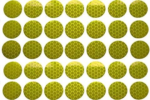 UvV - Reflektoren, Reflexfolien starke selbstklebende Aufkleber, floureszierende Farben, hell und auffällig, tolles Design (flour lemon-grün, 35 Punkte 25mm)