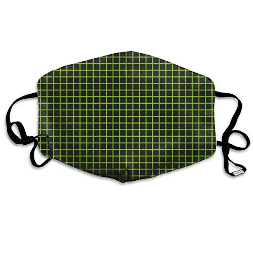 ook Grid Neon Green Anti Dust Mask Anti Pollution Washable Reusable Mouth Masks ()