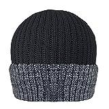 Thinsulate - Hommes - Bonnet de ski tricot thermique revers avec doublure Thinsulate (40g) hiver, Noir, Taille unique