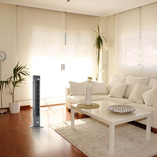 ANSIO Light Weight Oscillating Slim Tower Fan with Remote Control and 3-Speed 3-Wind Mode with Long 1.8 m Cable, 30-Inch, Grey (Batteries NOT included)