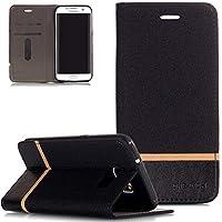 FNBK Samsung Galaxy S7 Edge Hülle Leder,Samsung Galaxy S7 Edge Handyhülle Schwarz,Dünne Handyhülle Tasche Retro... preisvergleich bei billige-tabletten.eu