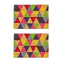 Nicola Spring Triangles Design Non-Slip Coir Door Mats, 40 x 60 cm - Pack of 2 PVC Backed Welcome Doormats