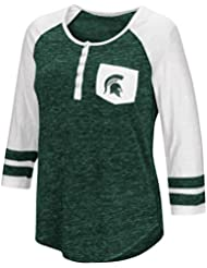 """Michigan State Spartans NCAA Women's """"Inconceivable"""" 3/4 Sleeve Henley Shirt Chemise"""