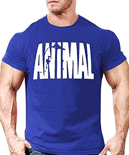 Outgobuy Männer Animal Print Trainingsanzug T-Shirt Fitness Bodybuilding T-Shirt (XX-Large, Blau)