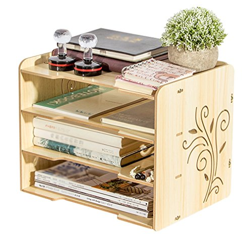 Desktop Organizer Holz freistehende Sortierer 4-Tier Einstellbare Akten Rack Bücherregal für Home Office Supplies Abnehmbare (33 * 25 * 27 cm) (Farbe : #2) (4-tier-bücherregal)