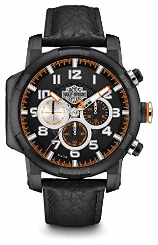 Harley Davidson Mens Black Leather Strap Chronograph 78B139
