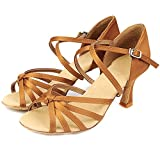 SQIAO-X- Zapatos de baile Kraft desgaste hebilla de seda suave transpirable cuadrado inferior Danza La danza moderna la danza Latina profesional Zapatos de baile
