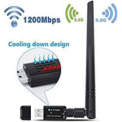 USB WLan Adapter YATWIN Wlan Stick 1200Mbps, 802.11ac Zwei-Band (5.8GHz/867Mbps+2.4GHz/300Mbps) Drahtloser Netzwerk Adapter USB W-Lan Dongle Adapter mit 5dBi Antenne Unterstützung Win Vista,Win 7,Win 8.1, Win 10, Mac OS X 10.9-10.12.4