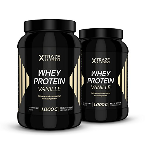 Whey Protein Pulver 1kg für Eiweiß-Shakes 1000g Molkenprotein-Konzentrat + Isolat mit BCAA - Qualität aus Deutschland - ohne Zusatzstoffe wie Aspartam - für Kraftsport | Bodybuilding | Fitness (2 Dosen Vanille)