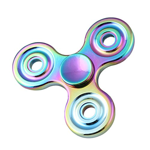 Walwh Zinc Alloy Colourful Tri Fidget Hand Spinner EDC Focus Anxiety Stress Relief Toys