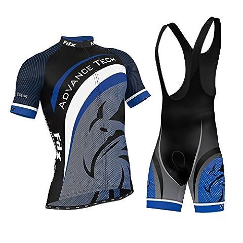 FDX Mens Cycling Jersey Team Cycling Clothing Jersey Bib Shorts Kit Shirt Sets (Medium)